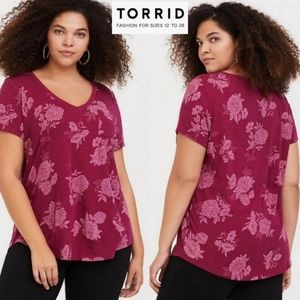 Torrid berry floral v-neck tee sz 2X